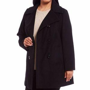 NWT Anne Klein wool blend black plus size coat